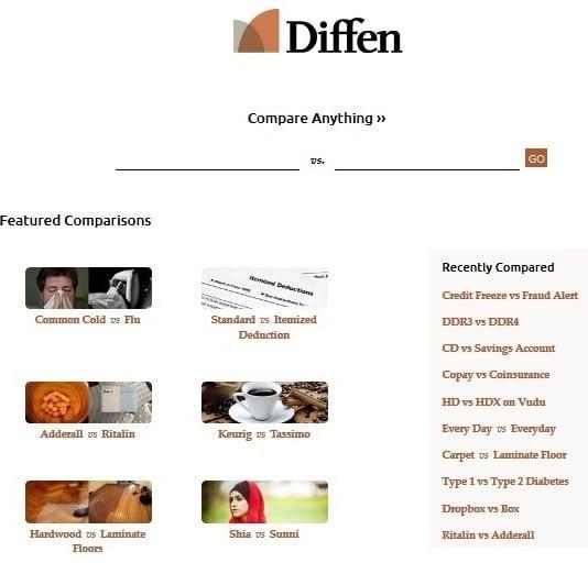 Diffen screenshot