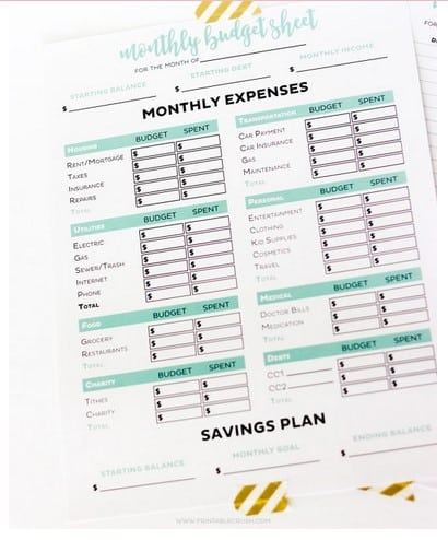 Printable Budget Worksheets - free online college financial tool