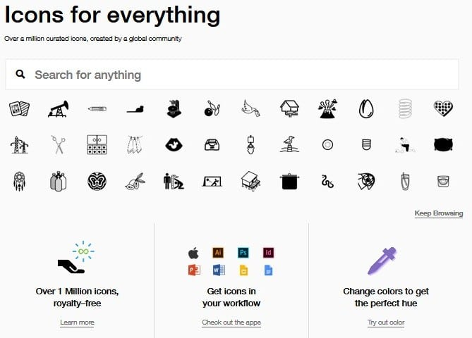 The Noun Project screenshot